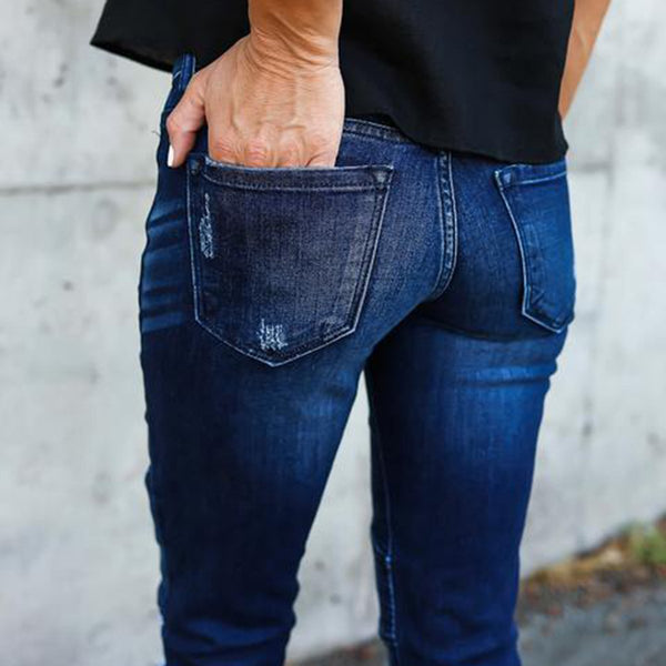 Skinny Leg Ripped Pleated Denim Jeans