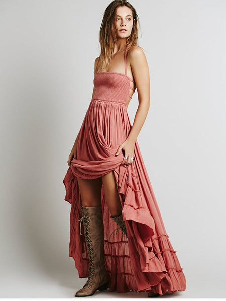 Backless Halter Neck Ruffle Maxi Dress