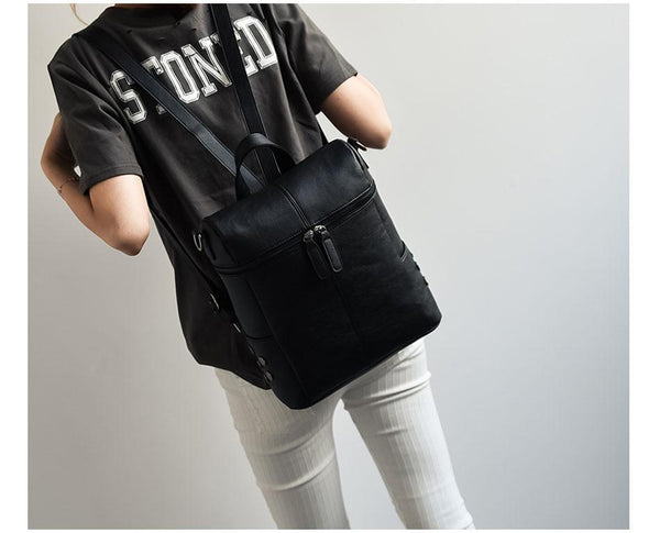 Zip Top Faux Leather Matte Backpack