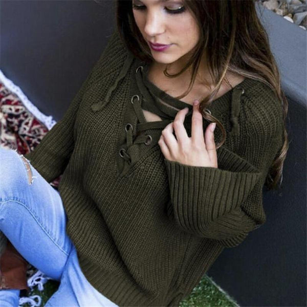 V-Neck Lace Up Cold Shoulder Flare Sleeve Sweater