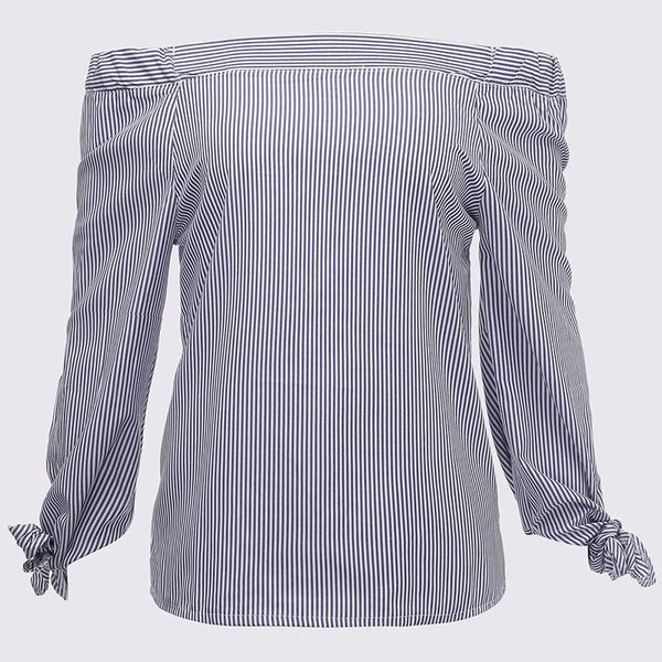 Slash Neck Striped Blouse