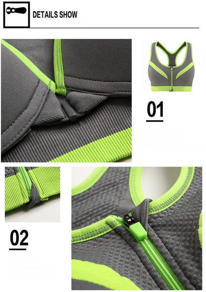 Lucia - Fixed Cup Front Zip Sports Bra