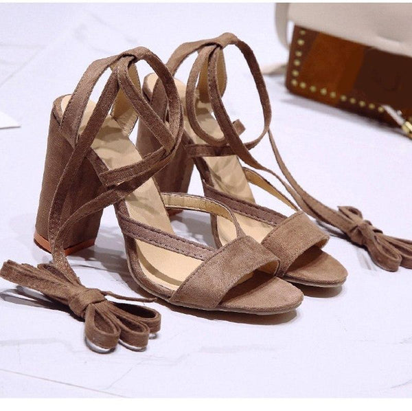High Heel Lace Up Sandals
