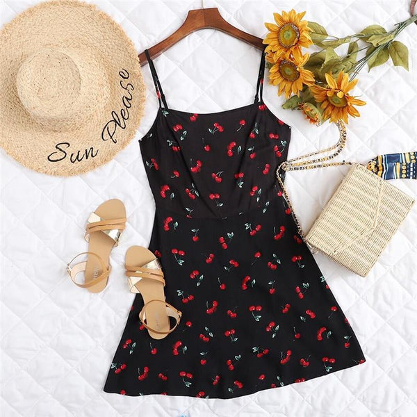 Cherry Print Spaghetti Strap Dress