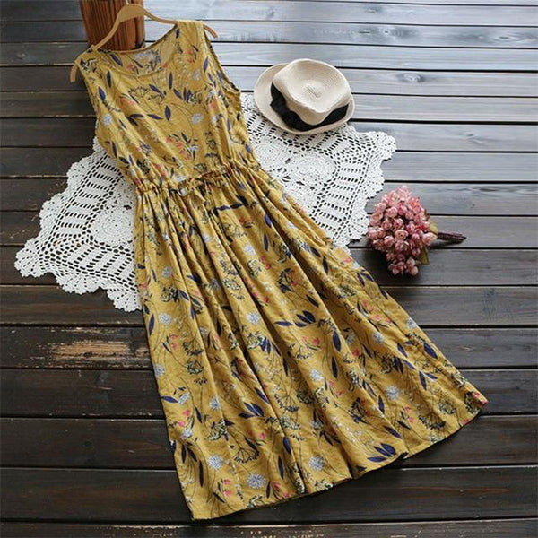 Gwyneth - Sleeveless Waist Tie Vintage Dress
