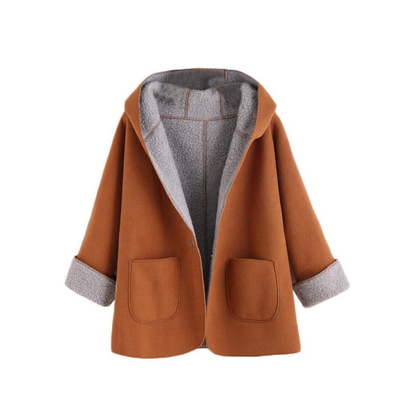 Contrast Fleece Dual Pocket Hooded Coat