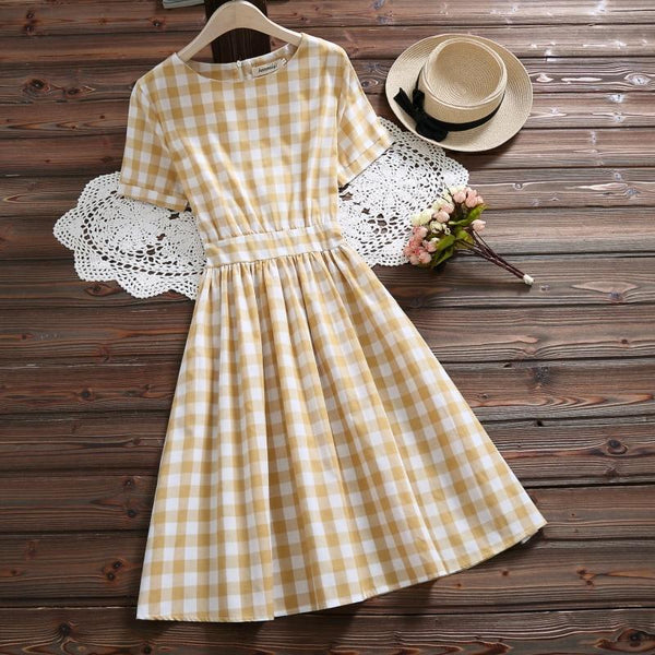 Abigail - Checkered Waist Band Back Bow Tie Dress