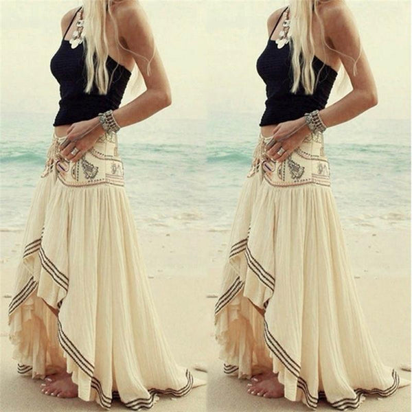 Elastic Waist Pleated Ruffle Maxi Skirt