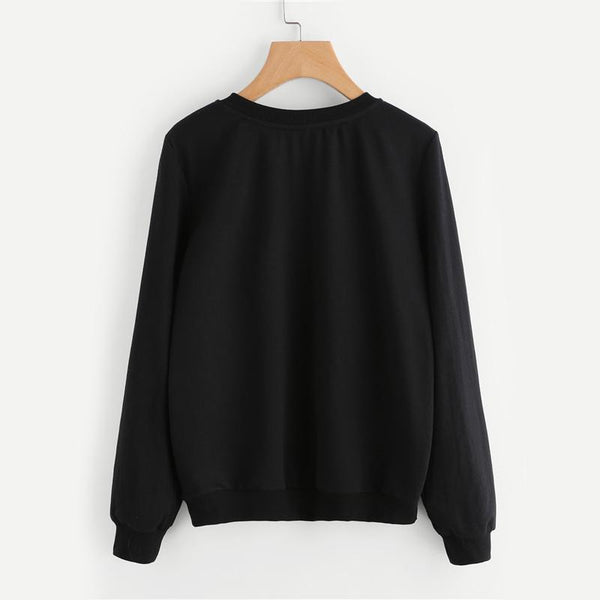Cat Face Round Neck Pullover Sweater