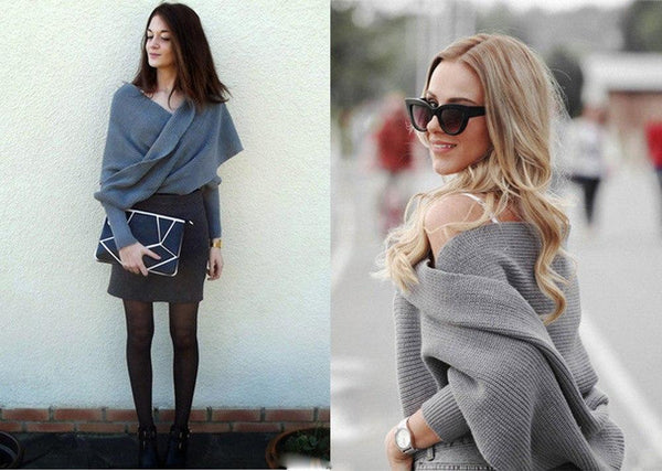 V-Neck Oversized Wrap Around Knitted Sweater