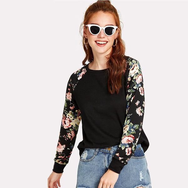 Donte - Floral Sleeve Round Neck Sweater