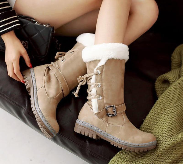 Mid-Calf Lace Up Winter Snow Boots – Speak