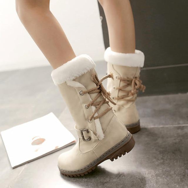 Mid-Calf Lace Up Winter Snow Boots