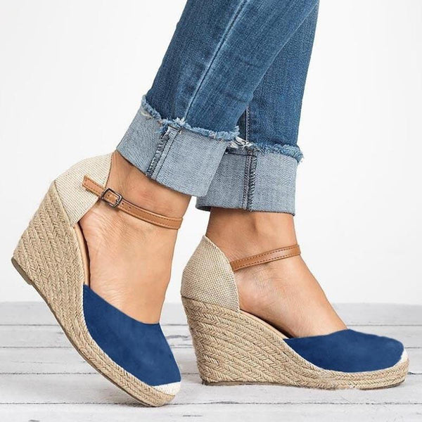 Mandy - Round Toe Ankle Buckle Wedges