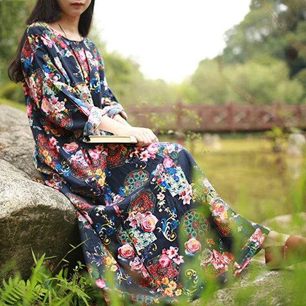 Journee - Floral Boho Loose Fit Dress