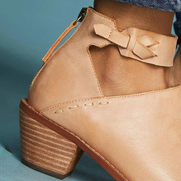 Chunky Heel Ankle Strap Boots