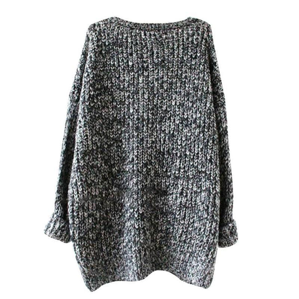 O-Neck Drop Shoulder Ribbed Sweater