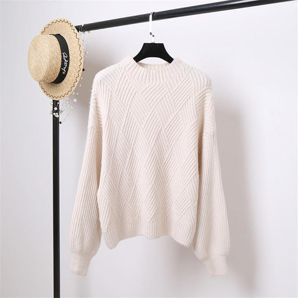 High Neck Lantern Sleeve Pullover Sweater