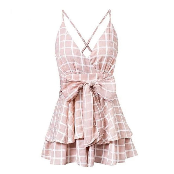 Odelia - Ruffle Deep V-Neck Plaid Romper