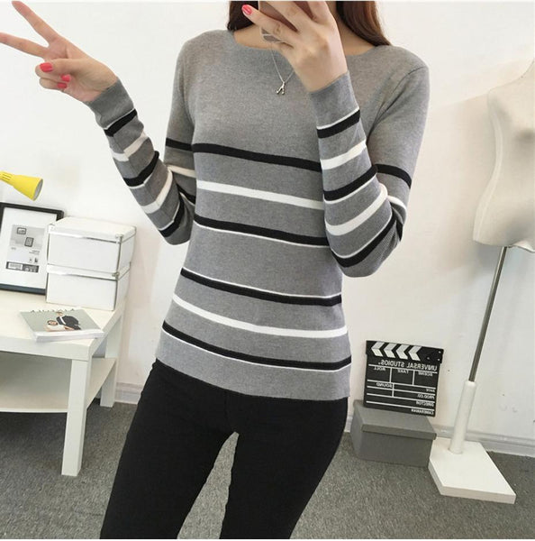 Color Block Knit Pullover Sweater
