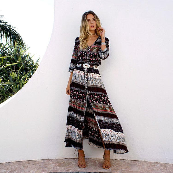 Boho Button Up Half Sleeve Split Maxi Dress