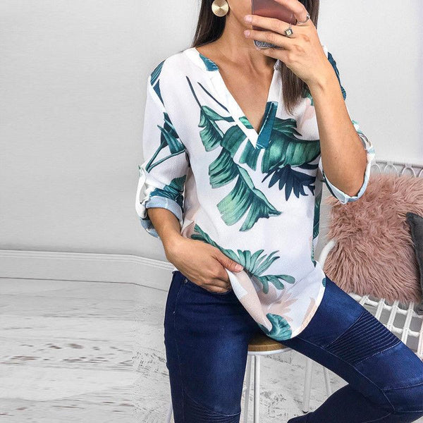 Cleo - V-Neck Rolled Sleeves Blouse