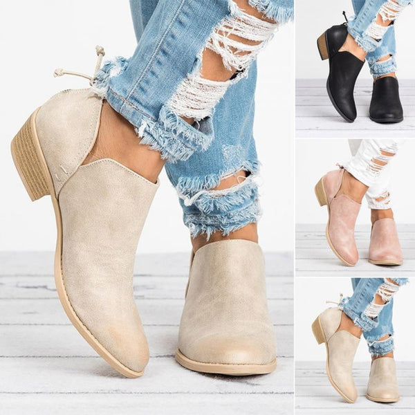 Butterfly Knot Side Slit Pointed Toe Ankle Boots