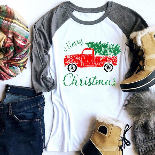 Merry Christmas Baseball Tee
