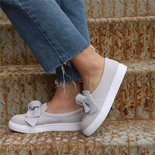 Lillie - Round Toe Front Bow Flat Loafers