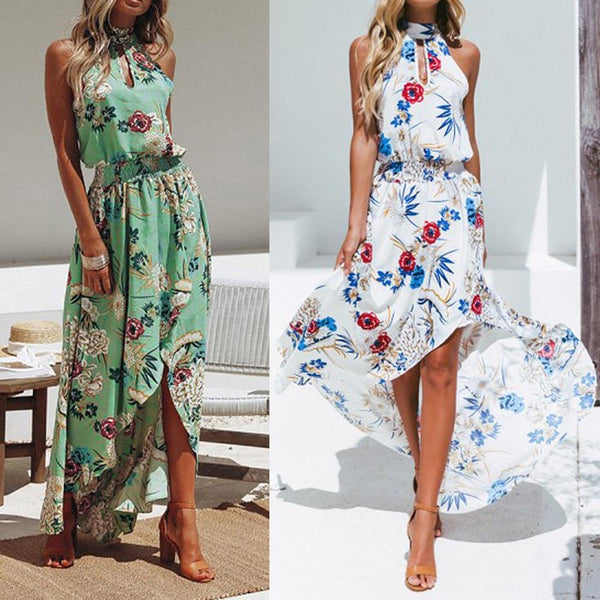 Jane - Halter Neck Floral Boho Maxi Dress