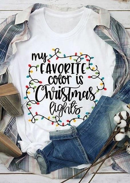 My Favorite Color is Christmas Lights Tee