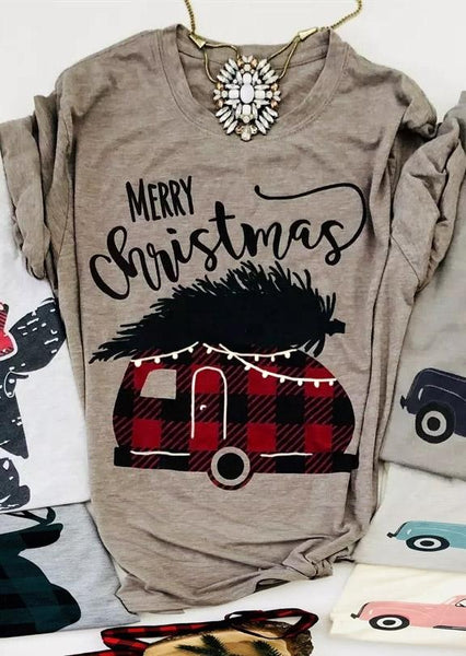 Merry Christmas Plaid Van Tee