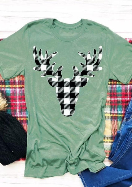 Plaid Reindeer Holiday Tee