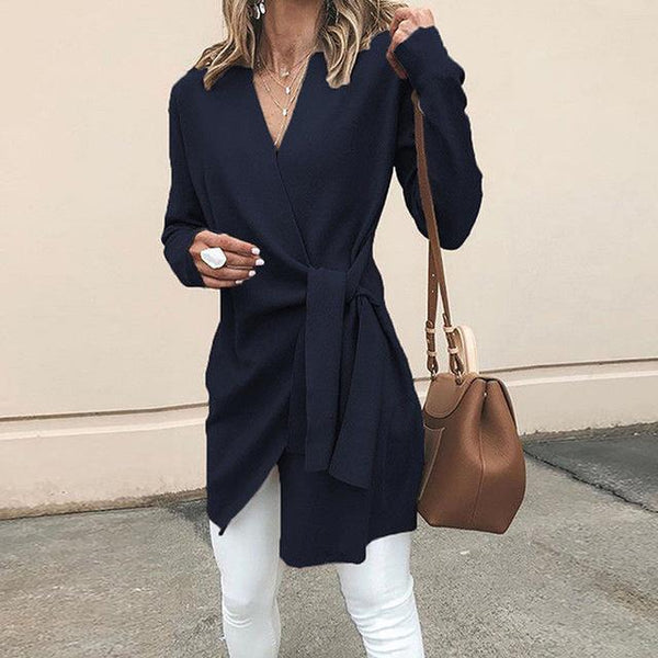 V-Neck Waist Tie Casual Coat