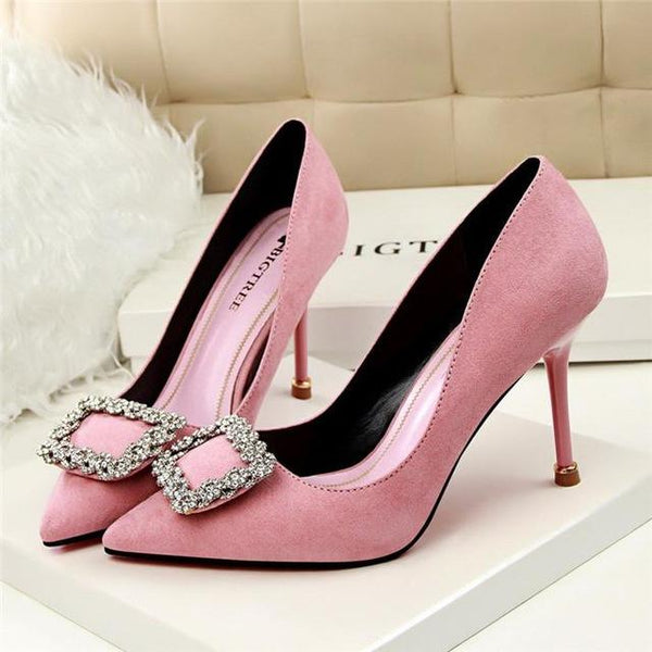 Carrie - Rhinestone Buckle Point Toe Heels