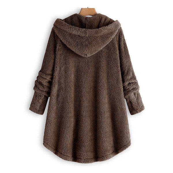 Scyla - Hooded Fleece Button Down Coat