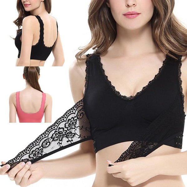 Front Cross Side Clasp Lift Lace Bra