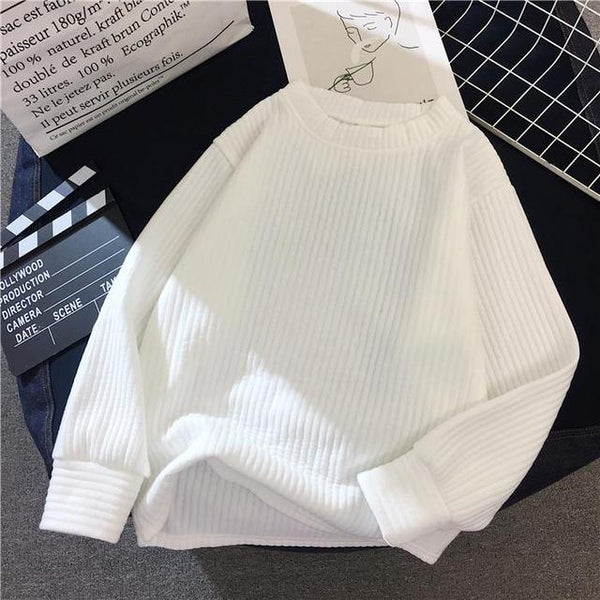 Olive - Balloon Sleeve Ribbed Sweater