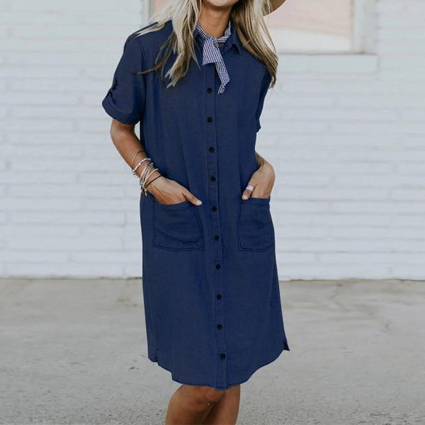 Coretta - Loose Fit Button Up Denim Dress