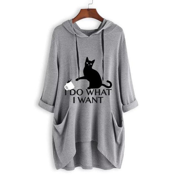 I Do What I Want Cat Hooded Sweater
