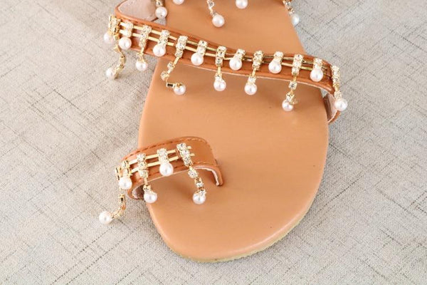 Hanging Pearl Beaded Sandals