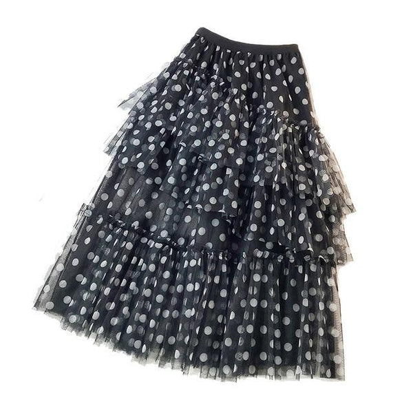 Avis - Diagonal Ruffle Layered Polka Dot Maxi Skirt