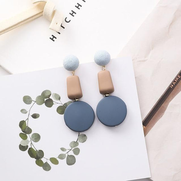 Tau - Square & Circle Drop Stud Earrings
