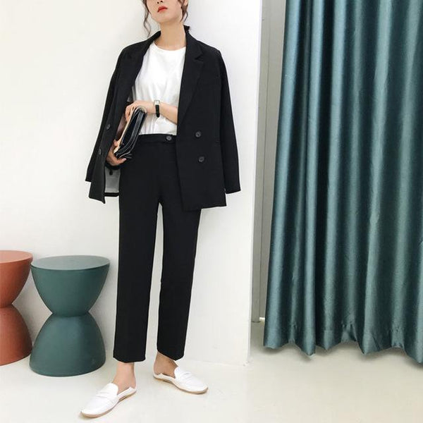 Jeana - Vintage Double Breast Blazer & High Waist Pants