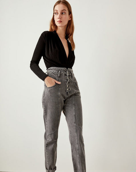 Elora - High Waist Acid Wash Harem Jeans