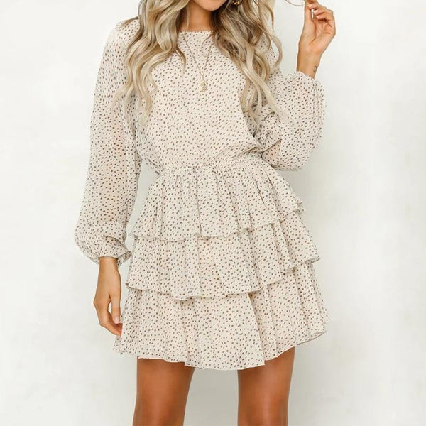 Florianza - Polka Dot Backless Ruffle Dress