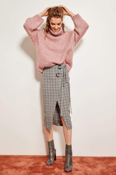 Damaris - Split Plaid Skirt