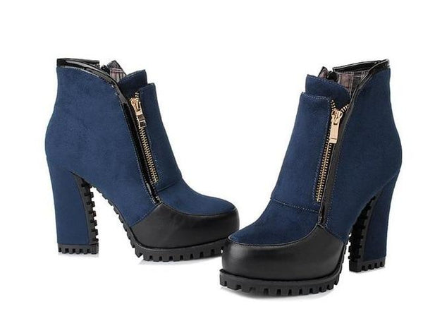 Mishell - Chunky Heel Zip Ankle Boots