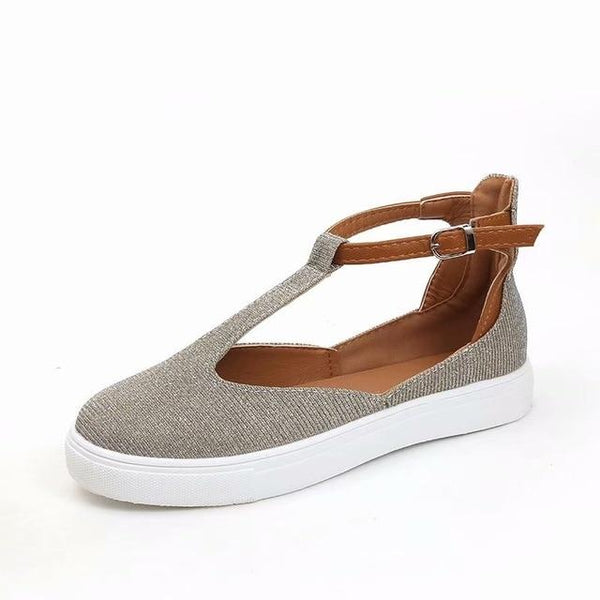 Isla - Ankle Buckle T-Strap Flats