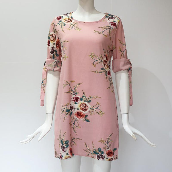 Bahari - Sleeve Tie Floral Dress